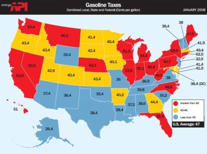 Gas Taxes in Cents Per Gallon
