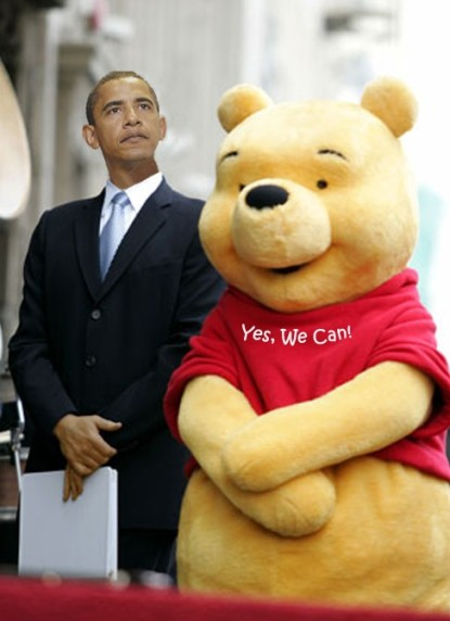 Barack Obama with Foreign Policy Adviser Winnie the Pooh