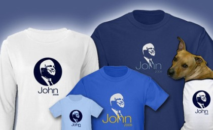 John McCain t shirts, sweatshirts and boxers for men, women, kids, baby and dog! In multiple colors and styles.