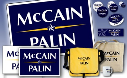 McCain/Palin yard signs, banners, bumper stickers, campaign buttons, stickers, bags, mugs and more!