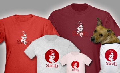 Sarah Palin t shirts, sweatshirts and boxers for men, women, kids, baby and dog! In multiple colors and styles.